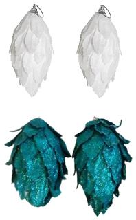 Набор елочных украшений Snowmen Шишка из лепестков Е94210 Белый
