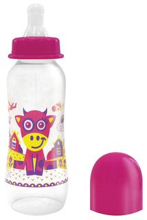 Бутылочка Lubby Русские мотивы с соской 250 мл розовая