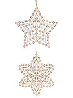 """Новогоднее подвесное елочное украшение """"Снежинка и звездочка"""", 0,6x12x14 см Феникс Present"""