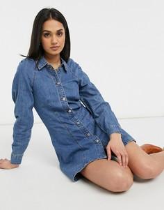 Винтажное выбеленное джинсовое платье с присборенными плечами Lost Ink-Голубой