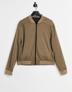 Светло-коричневая куртка-бомбер из твила River Island-Светло-коричневый