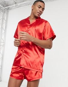 Красная атласная пижама с рубашкой и шортами ASOS DESIGN-Красный