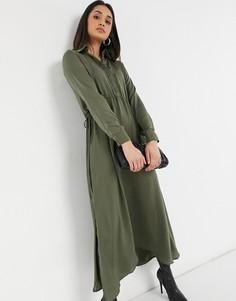 Атласное платье-рубашка макси цвета хаки со шнурком на талии Urban Threads-Зеленый цвет