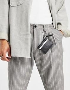 Кожаная кредитница с контрастной вставкой и застежкой ASOS DESIGN-Черный