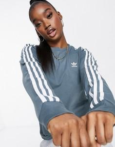 Голубой лонгслив с тремя полосками adidas Originals adicolor