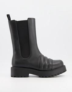 Черные высокие ботинки из искусственной кожи на массивной подошве Monki Uno-Черный