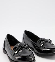 Черные лакированные лоферы из искусственной кожи New Look Wide Fit-Черный цвет