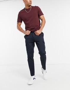 Темно-синие строгие брюки с карманами карго Burton Menswear-Темно-синий