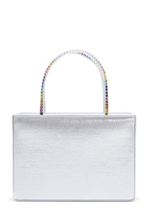 Серебристая сумка из сатина и кожи Amini Gilda Crystal Amina Muaddi