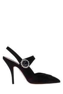 Черные туфли из сатина с кристаллами Miu Miu