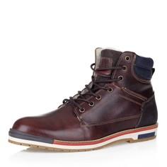 Кожаные ботинки в коричневом цвете на шерсти Respect