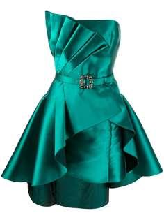 Alberta Ferretti атласное коктейльное платье со складками