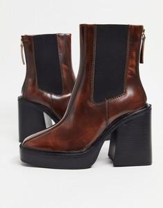 Светло-коричневые ботинки на платформе с каблуком Topshop-Светло-коричневый