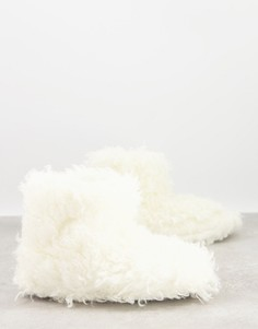 Слиперы-ботиночки кремового цвета из пушистого искусственного меха Loungeable-Кремовый