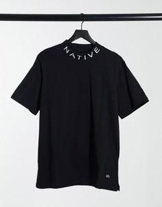 Черная футболка с высоким воротом и логотипом Native Youth-Черный