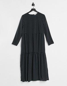 Черное свободное платье миди с ярусной юбкой, длинными рукавами и принтом в бежевый горошек ASOS DESIGN-Многоцветный