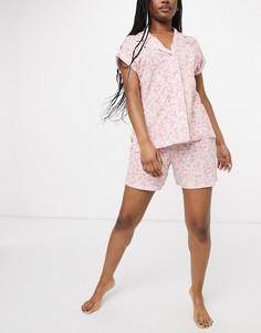Короткая розовая пижама с цветочным принтом LAUREN by Ralph Lauren-Розовый цвет