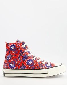 Кроссовки красного цвета с цветочным принтом Converse Chuck 70 Hi-Красный