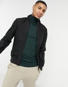 Черная нейлоновая куртка с воротником-стойкой River Island-Черный цвет