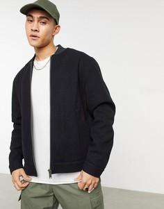 Куртка-бомбер черного цвета с обработанным краем ASOS DESIGN-Черный цвет