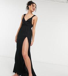Черное пляжное платье макси из переработанного материала на бретелях с узелками ASOS DESIGN Tall-Черный цвет