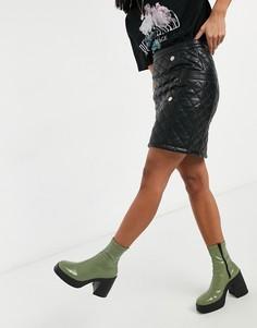 Черная стеганая юбка-карандаш с пуговицами Morgan-Черный цвет