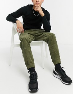 Вельветовые брюки цвета хаки в стиле милитари New Look-Зеленый цвет