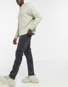 Черные джинсы с эффектом брызг краски Liquor N Poker-Черный цвет