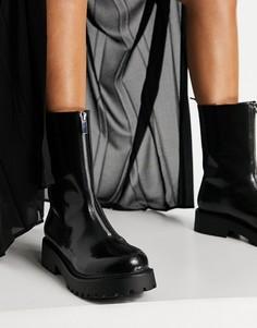 Черные ботинки из искусственной кожи на массивной подошве и молнии Monki Elaine-Черный цвет