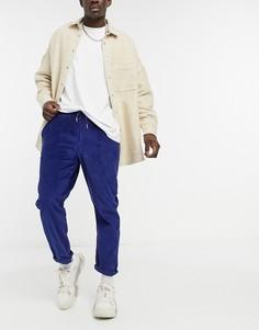 Узкие вельветовые брюки яркого темно-синего цвета с эластичным поясом ASOS DESIGN-Голубой