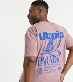 """Розовая футболка с надписью """"Utopia"""" и принтом бабочки спереди и на спине Topman Big & Tall-Розовый цвет"""