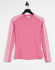 Розовый облегающий лонгслив с тремя полосками и логотипом adidas Originals Fakten-Розовый цвет