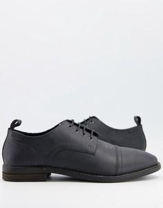 Черные кожаные туфли на шнуровке с потертостями ASOS DESIGN-Черный цвет