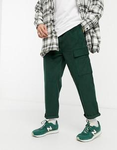 Укороченные зеленые брюки-карго из вельвета свободного кроя ASOS DESIGN-Зеленый цвет