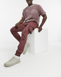 Коричневые узкие брюки карго с эффектом масляной стирки ASOS DESIGN-Коричневый цвет