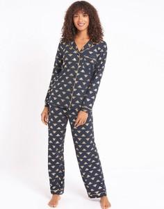 Темно-синяя пижама из экологичного полиэстера с принтом пчел с эффектом металлик Chelsea Peers-Темно-синий