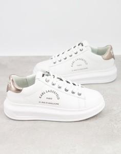 Белые кожаные кроссовки на платформе с серебристыми задниками Karl Lagerfeld Maison-Белый