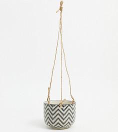 Подвесной цветочный горшок с геометрическим принтом Sass & Belle-Черный цвет