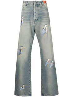 Heron Preston широкие джинсы с вышивкой