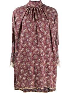 Chloé платье с высоким воротником и узором пейсли