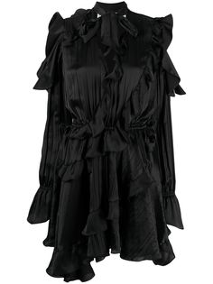 Off-White коктейльное платье с оборками и жатым эффектом