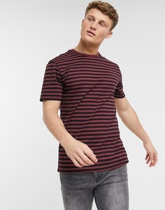 Бордовая футболка в полоску с короткими рукавами Only & Sons-Красный