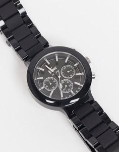 Черные мужские часы с круглым циферблатом и металлической отделкой Lacoste Borneo-Черный цвет