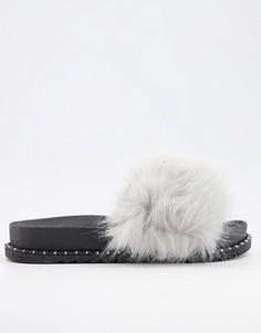 Серые слиперы из искусственного меха Truffle Collection-Серый