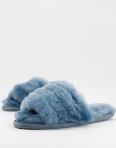 Синие премиум-слиперы из овчины ASOS DESIGN Zola-Голубой