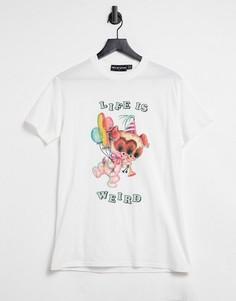 "Oversized-футболка с принтом и надписью ""Life is weird"" New Girl Order-Белый"
