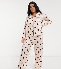 Розовая атласная пижама в горошек New Look Curve-Розовый цвет