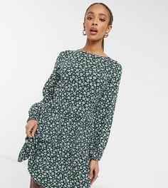 Платье с присборенной юбкой, длинными рукавами и цветочным принтом в винтажном стиле Wednesdays Girl-Зеленый цвет