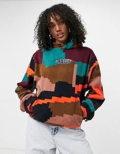 Oversized-худи из плотного флиса с принтом в стиле колор-блок от комплекта Grimey-Многоцветный