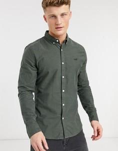 Оливковая оксфордская рубашка классического кроя на пуговицах с логотипом и длинными рукавами Hollister-Зеленый цвет